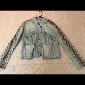 Free People denim jacket, super cool pattern